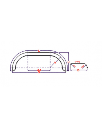 Universeel spatbord metaal tandem rond 200x1500 mm