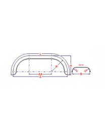 Universeel spatbord metaal tandem rond 220x1550 mm boottrailers