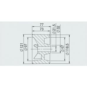 AL-KO zijrol 121x77 mm asgat 21,5 mm