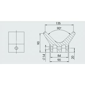 AL-KO boegsteun 135x75 mm asgat 14 mm