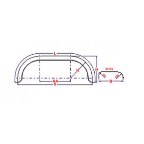 Universeel spatbord metaal tandem rond 220x1390 mm
