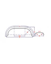 Universeel spatbord metaal tandem rond 200x1550 mm boottrailers