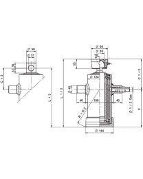 Kipcilinder met kogelplaat 4-traps 1290 mm