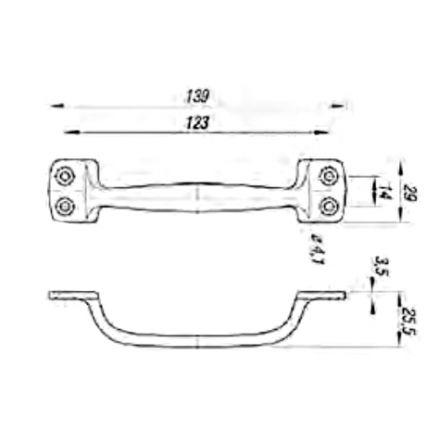 Handgreep aluminium 139x29 mm