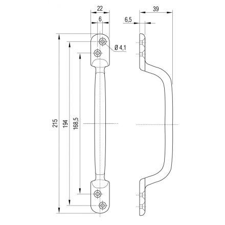 Handgreep aluminium 215x22 mm