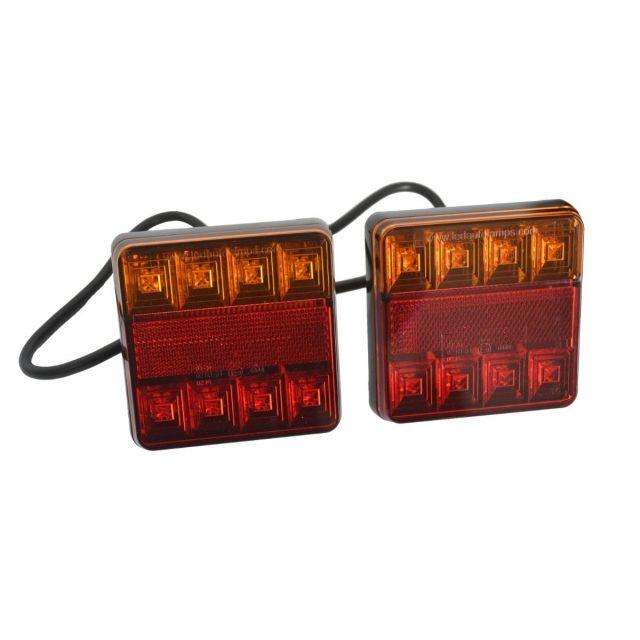 Set LED achterlichten 100x100mm 12V 40cm kabel