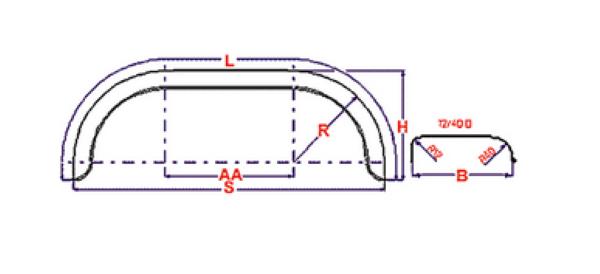 Universeel spatbord metaal tandem rond 220x1550 mm